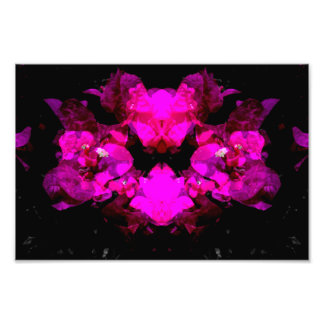 Abstract floral design - bright pink on black art photo
