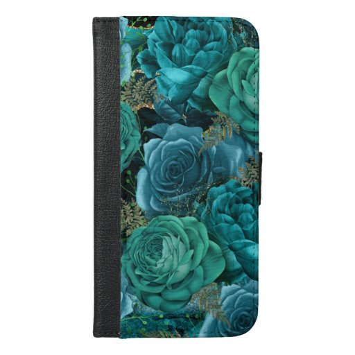 Abstract Floral Design in Teal and Gold | iPhone 6/6s Plus Wallet Case