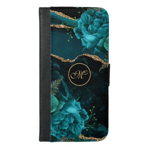 Abstract Floral Design in Teal and Gold | Monogram iPhone 6/6s Plus Wallet Case