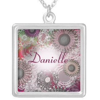 Abstract floral design square pendant necklace