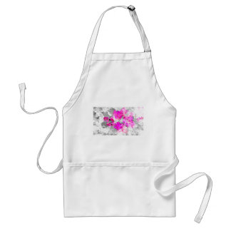 Abstract floral design - pink on white and gray adult apron