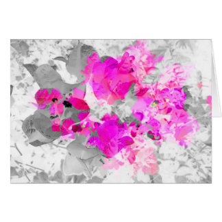 Abstract floral design - pink on white and gray card
