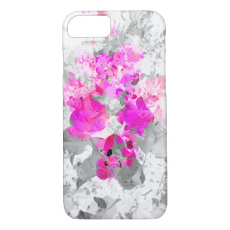 Abstract floral design - pink on white and gray iPhone 8/7 case