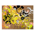 abstract floral design postcard