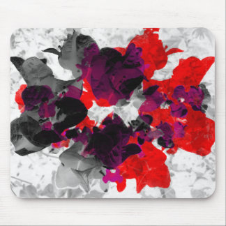 Abstract floral design - red and purple over white mouse pad