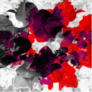 Abstract floral design - red and purple over white statuette