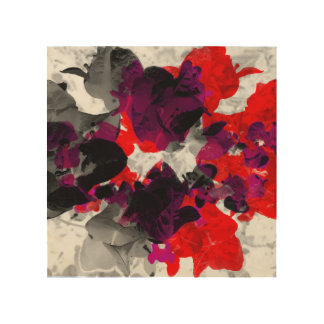 Abstract floral design - red and purple over white wood wall art