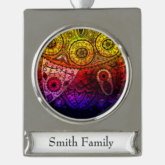 Abstract Floral Design Silver Plated Banner Ornament