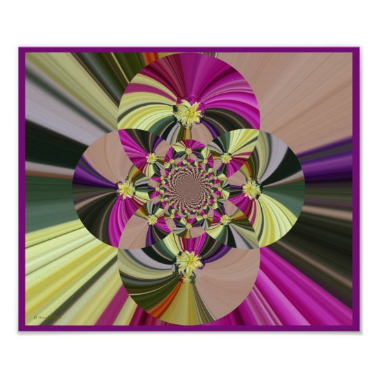 Abstract Floral Digital Art Poster