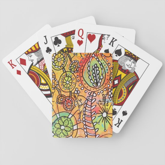 Abstract Floral Doodles Orange Lime Green Black Playing Cards