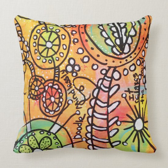 Abstract Floral Doodles Orange Lime Green Black Throw Pillow