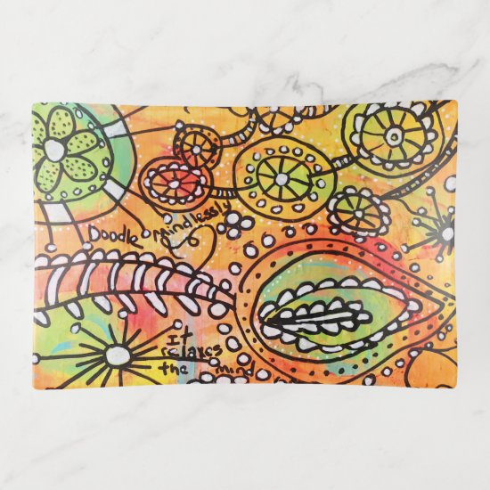 Abstract Floral Doodles Orange Lime Green Modern Trinket Trays