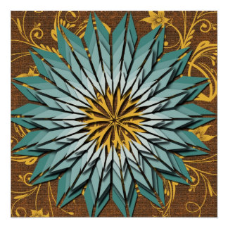 Abstract Floral Earth Tone Poster