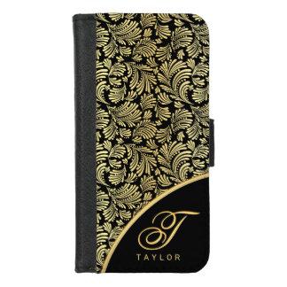 Abstract Floral Elegant Gold Ladies Monogram Folio iPhone 8/7 Wallet Case