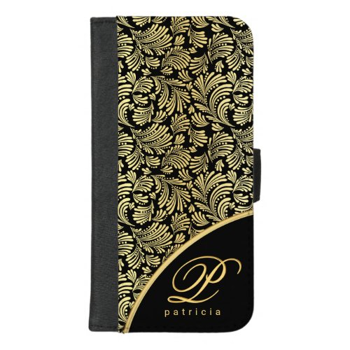 Abstract Floral Elegant Gold Ladies Monogram Folio Phone Case