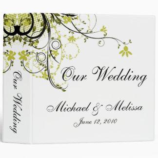 Abstract Floral Gold, Black & White Wedding Binder
