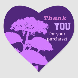 Abstract Floral Heart Thank You Stickers