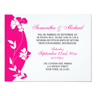 Abstract Floral Hot Pink Reception ONLY Invitation