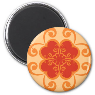 Abstract Floral in Orange Magnet