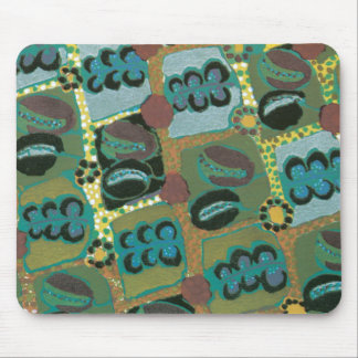 Abstract Floral in Teal Mouse Pad