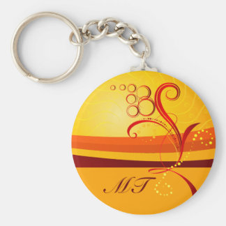 Abstract Floral Initial Keychain