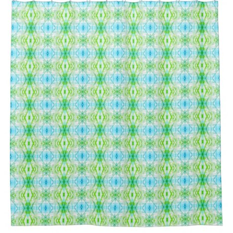 Abstract Floral Kaleidoscope Blue + Green Shower Curtain