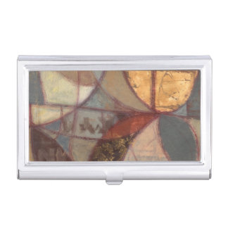 Abstract Floral Leaf Painting by Norman Wyatt Business Card Case