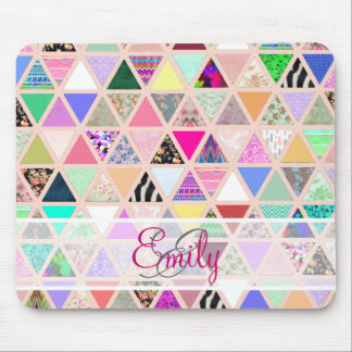 Abstract Floral Monogram Triangle Pastel Patchwork Mouse Pad