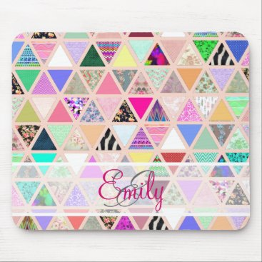 girly_trend Abstract Floral Monogram Triangle Pastel Patchwork Mouse Pad