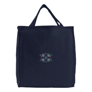 Abstract floral motif embroidery canvas tote bag