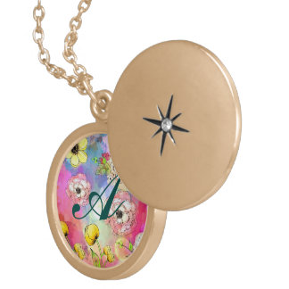 Abstract floral multi color drip paint art cute pendant