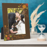 Abstract Floral Newlyweds Gift Wedding Photo Display Plaques