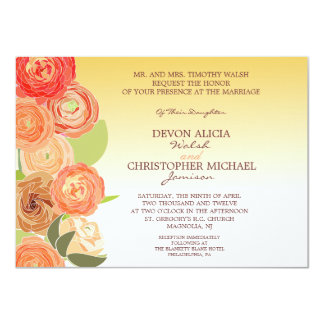 Abstract Floral Ombre Fall Wedding Invite
