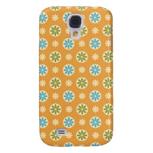 Abstract Floral on Orange Samsung Galaxy S4 Case