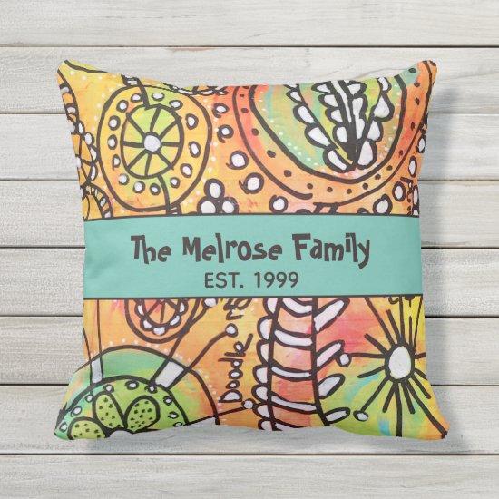 Abstract Floral Orange Blue Green Fun Family Name Outdoor Pillow