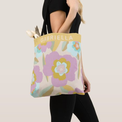 Abstract Floral Pastel Lilac Pattern Personalized Tote Bag