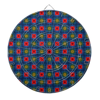 Abstract Floral Pattern Dartboard With Darts