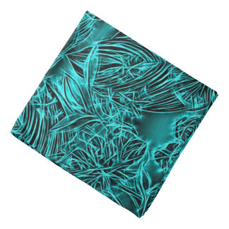 Abstract floral pattern, emerald green flowers bandana