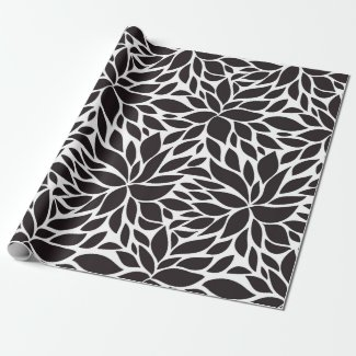 Abstract floral pattern in black & white
