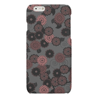 Abstract Floral Pattern in Dark Gothic Dusky Pink Matte iPhone 6 Case