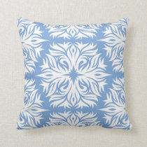 Abstract Floral Pattern in Periwinkle Blue Throw Pillow