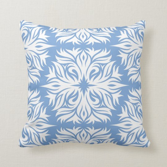 Abstract Fl Pattern In Periwinkle Blue Throw Pillow