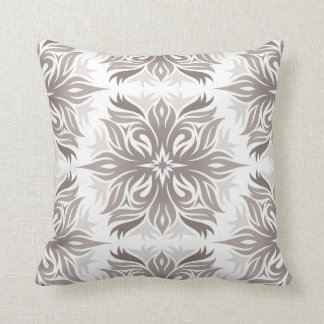 Abstract Floral Pattern in Shades of Taupe Throw Pillow