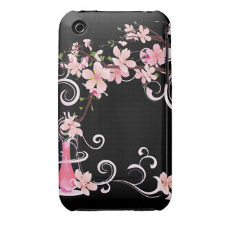 Abstract Floral Pink Blossoms with Vase Case-Mate iPhone 3 Case