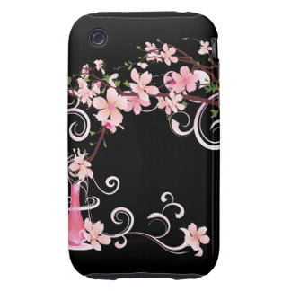 Abstract Floral Pink Blossoms with Vase Tough iPhone 3 Cover