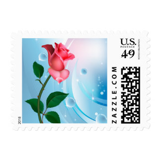 Abstract Floral Pink Rose Blue Galaxy Flower Postage Stamp
