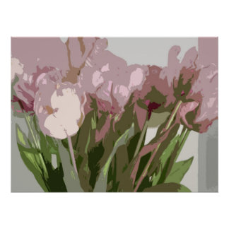 Abstract Floral - Pink Tulips Posters