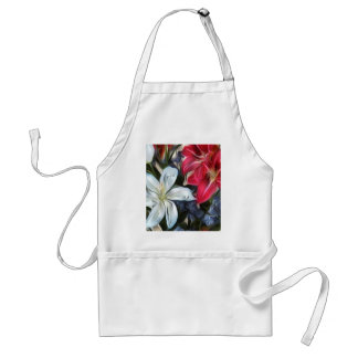 Abstract Floral Print Lilies and Orchids Adult Apron
