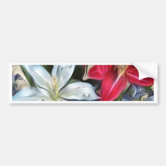 Abstract Floral Print Lilies and Orchids Bumper Sticker