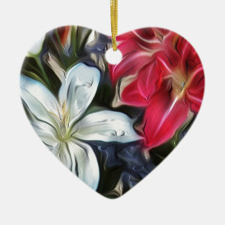 Abstract Floral Print Lilies and Orchids Ceramic Ornament